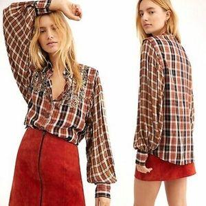 NEW Free People Snow Mountain plaid tunic blouse S